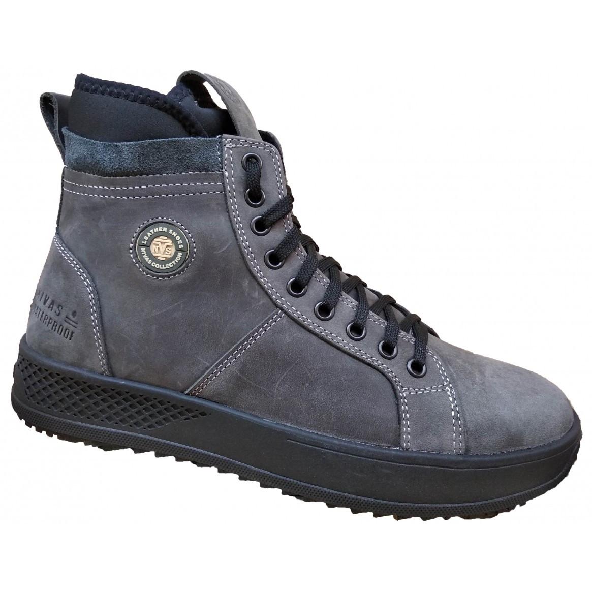 Шкіряні чоловічі черевики на хутрі 40-45 крейзі сірий