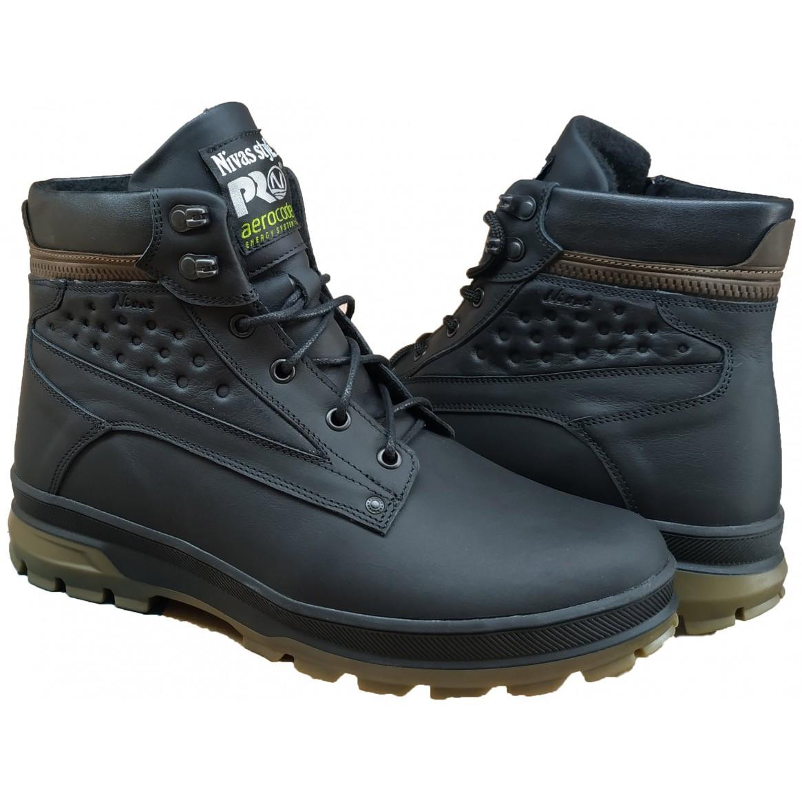 Ботинки мужские зимние  на меху  40-45 саваж черный
