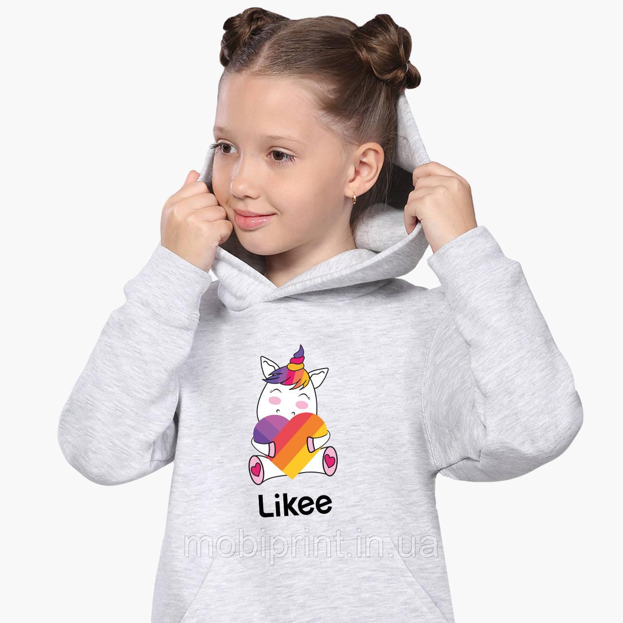 Худі для дівчаток Лайк Єдиноріг (Likee Unicorn) Кенгуру Світло-сірий (9298-1037)