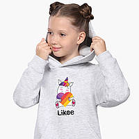 Худі для дівчаток Лайк Єдиноріг (Likee Unicorn) Кенгуру Світло-сірий (9298-1037), фото 1