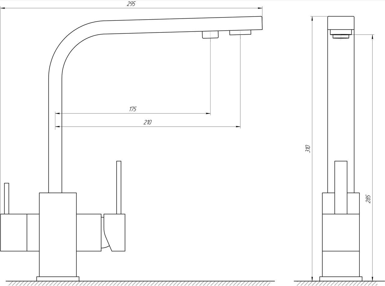 Смеситель для кухни под осмос Globus Lux GLLR-0111-3-TITANIUM