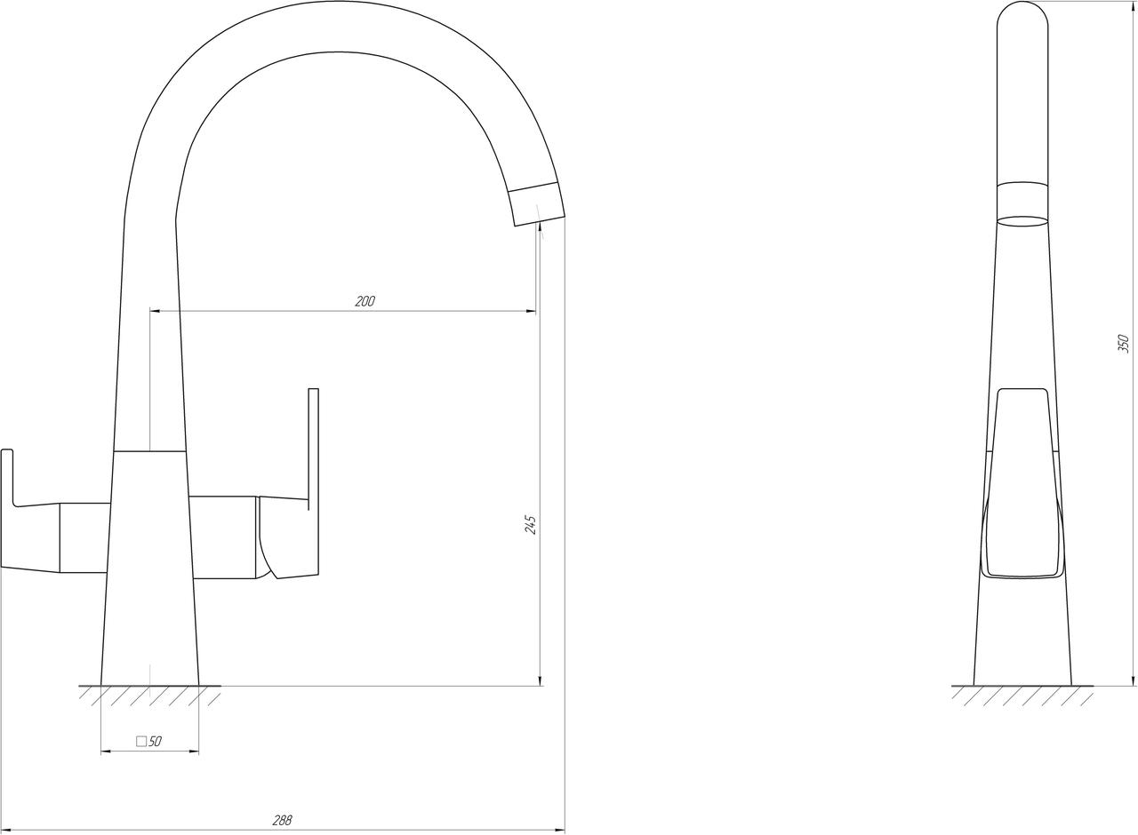 Смеситель для кухни под осмос Globus Lux GLLR-0999-8-STSTEEL