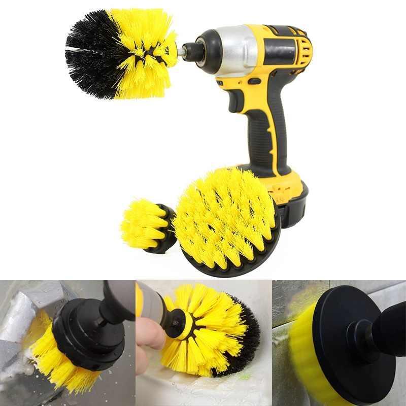 Набор из 3 щеток-насадок на шуруповерт дрель для чистки автомобиля (средняя жесткость)