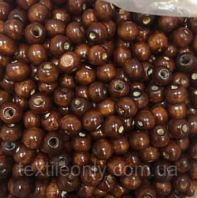 Дерев'яні намистини коричневі упаковка 100 шт