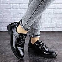 Женские туфли лаковые черные на плоской подошве 2033, фото 1