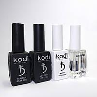 База каучуковая+Топ без липкого слоя +Топ матовый+ праймер бескислотный Kodi Professional, по 12 мл