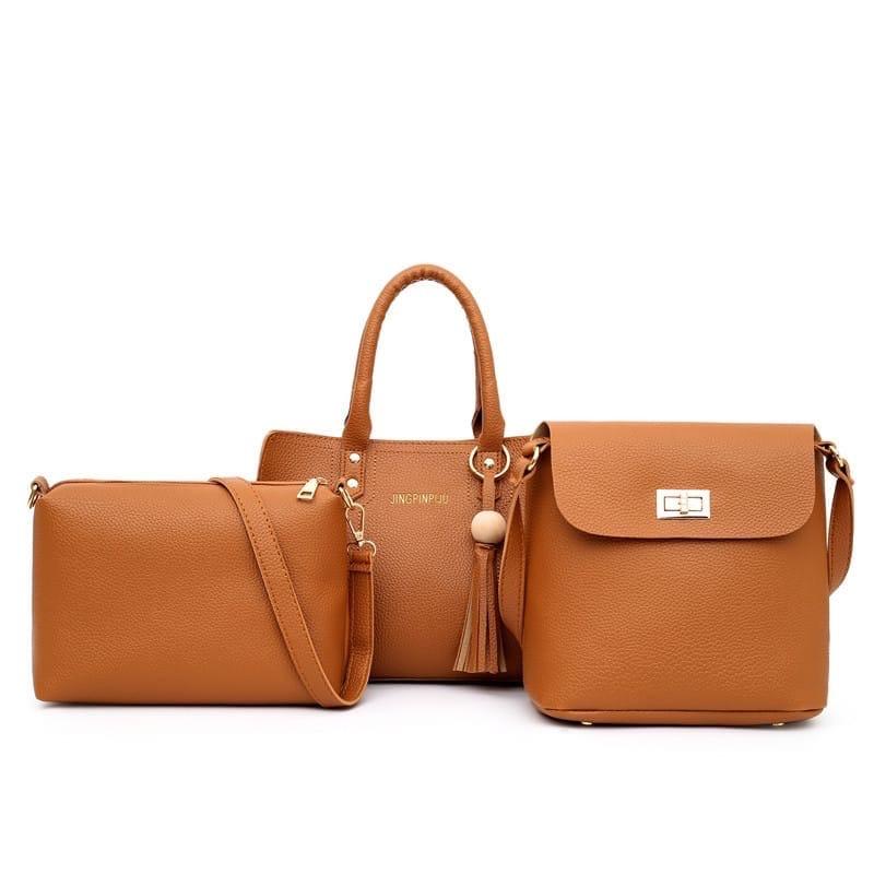 Женская сумка 3в1, экокожа PU (коричневый)