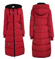 Женское зимнее двухцветное пальто пуховик парка с вставками р.42-44 красный