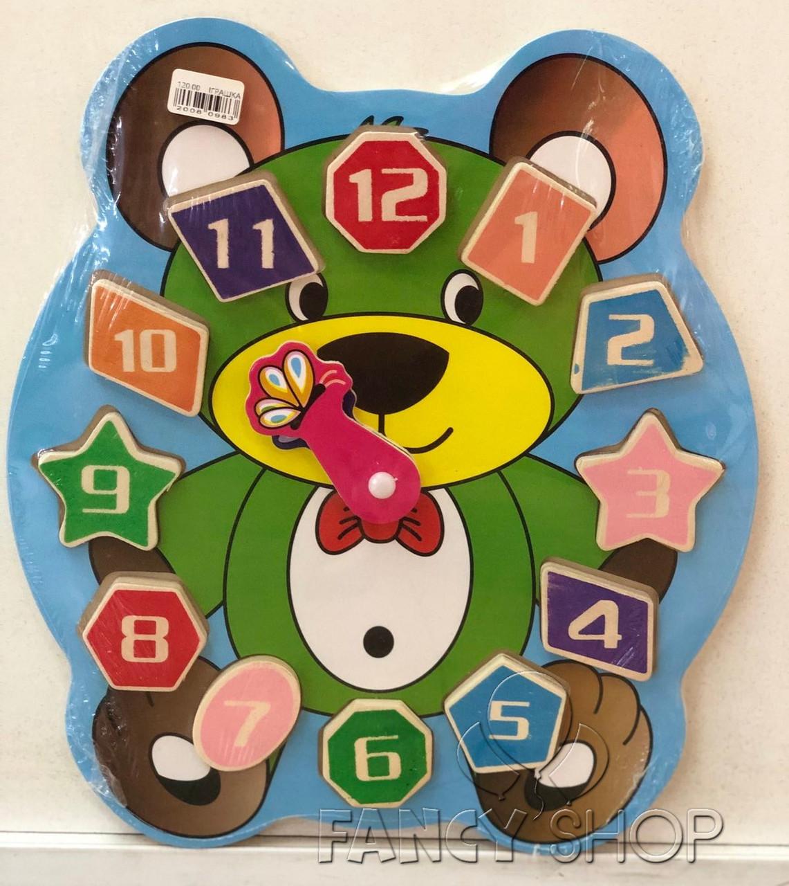 """Іграшка деревяна """"Годинник ведмедик"""", Развивающая игрушка """"Часы мишка"""""""