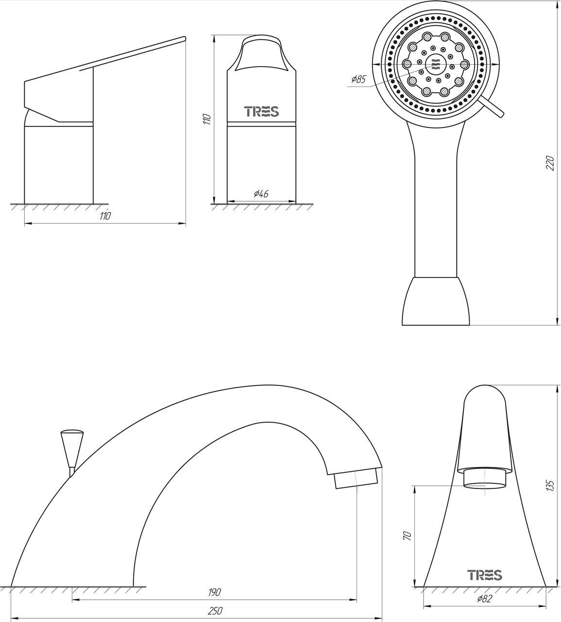 Смеситель для ванны TRES BM 139145