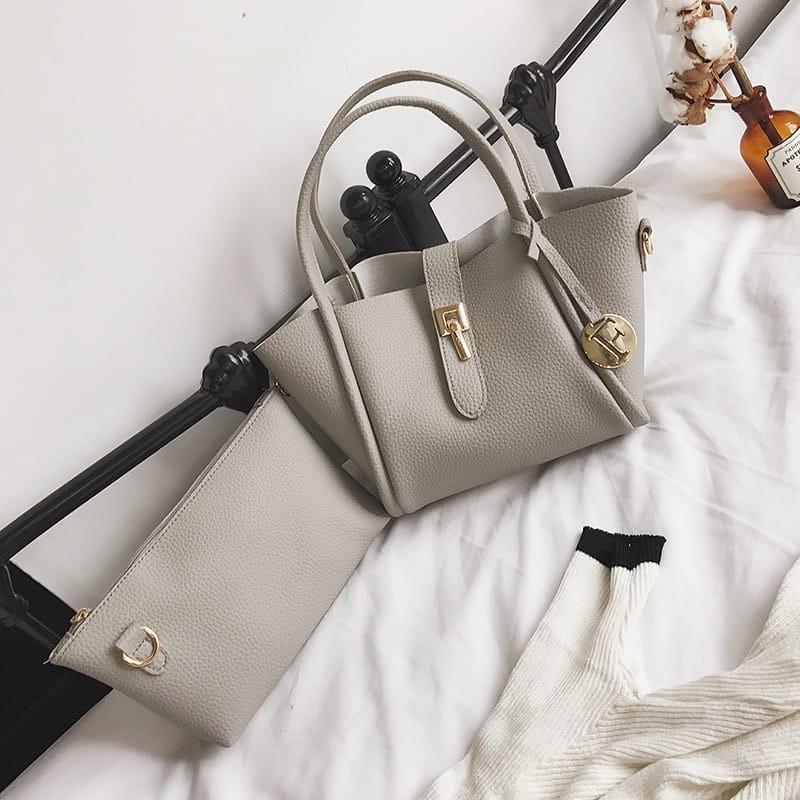 Женская сумка 2в1, экокожа PU (серый)