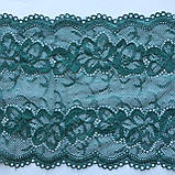 Стрейчевое (эластичное) кружево зеленого цвета шириной 16 см., фото 5