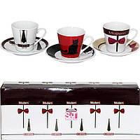024-12-15 Сервіз еспрессо 12пр. Кава модерн (чашка 90мл, блюдце 11см)