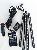LED подсветка автомобильная RGB HR-01678 с микрофоном и пультом