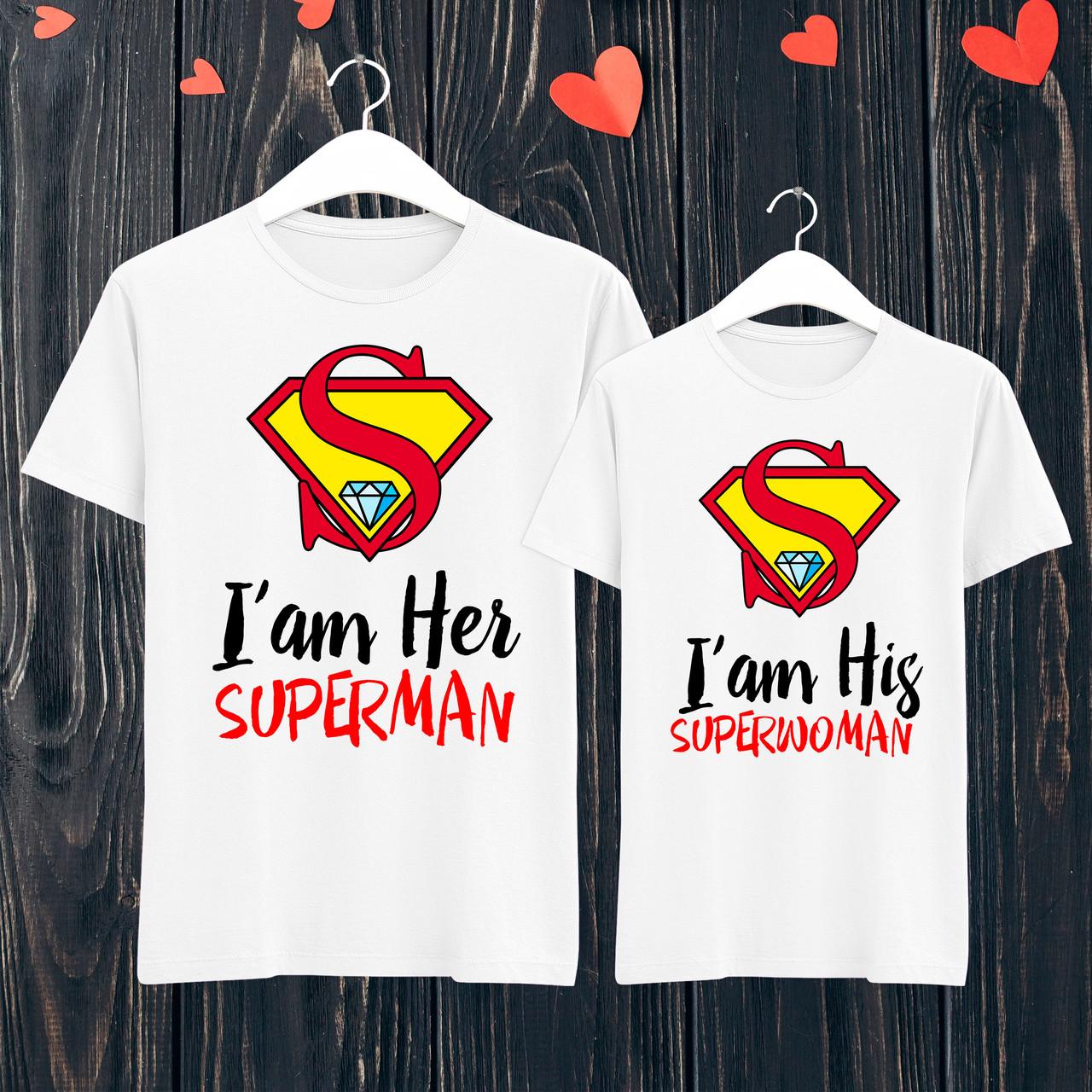 """Парные футболки с принтом """"I'am his superwoman/I'am her superman"""" L, Белый Push IT"""