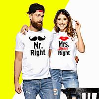 """Парные футболки с надписями """"Mrs.и Mr. Right"""" Push IT XS, Белый"""