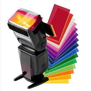 Набор цветных фильтров (рассеивателей) - гелевых (12 цветов) для накамерной вспышки