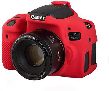 Защитный силиконовый чехол для фотоаппаратов Canon EOS 750D  - красный