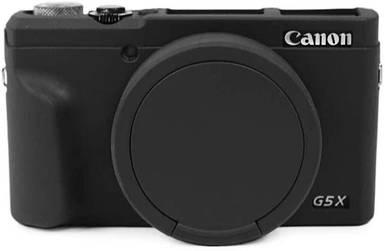 Защитный силиконовый чехол с крышкой для фотоаппаратов CANON G5X Mark II - черный