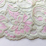 Стрейчевое (эластичное) кружево белого с розовым цвета шириной 13,5 см., фото 5