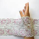 Стрейчевое (эластичное) кружево белого с розовым цвета шириной 13,5 см., фото 6