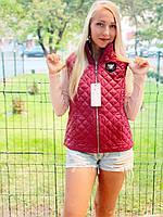 Женская безрукавка стеганая, арт.813 цвет бордо / марсала / вишневый