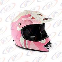 Кроссовый шлем KY-B12A розовый с белым, размер M