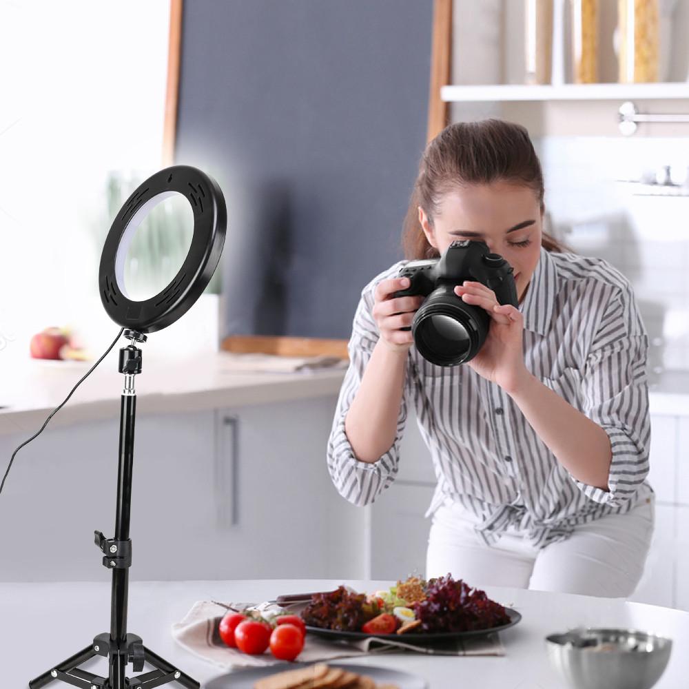 """Кольцевой LED осветитель ZM100 (6"""" - 16см) с пультом, USB, стойкой 55 см и шарниром для предметной съемки"""