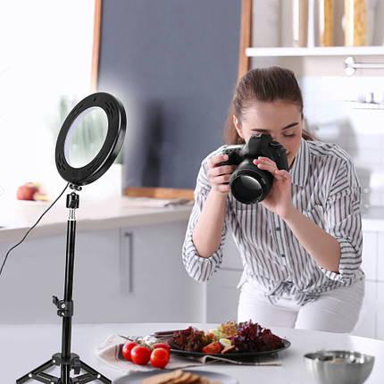 """Кольцевой LED осветитель ZM100 (6"""" - 16см) с пультом, USB, стойкой 80 см и шарниром для предметной съемки, фото 2"""