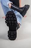 Ботинки женские кожаные черные на резинке демисезонные, фото 8