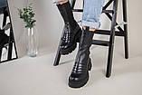 Ботинки женские кожаные черные на резинке демисезонные, фото 7