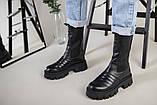 Ботинки женские кожаные черные на резинке демисезонные, фото 6