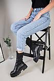 Ботинки женские кожаные черные на резинке демисезонные, фото 4