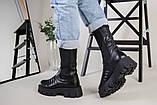 Ботинки женские кожаные черные на резинке демисезонные, фото 9