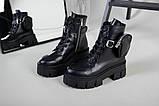 Ботинки женские кожаные черные на шнурках и с замком, фото 5