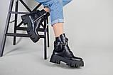 Ботинки женские кожаные черные на шнурках и с замком, фото 6