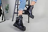 Ботинки женские кожаные черные на шнурках и с замком, фото 10