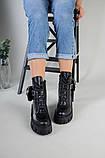 Ботинки женские кожаные черные на шнурках и с замком, фото 7
