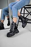 Ботинки женские кожаные черные на шнурках и с замком, фото 2