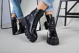 Ботинки женские кожаные черные на шнурках и с замком, фото 8