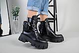 Ботинки женские кожаные черные на шнурках и с замком, фото 3