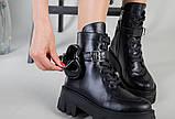 Ботинки женские кожаные черные на шнурках и с замком, фото 9