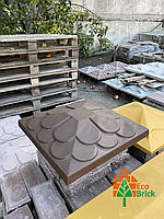 Крышки на столбы забора бетонные «ЛУСКА» 450х450 мм.цвет коричневый, вес 31 кг., фото 1