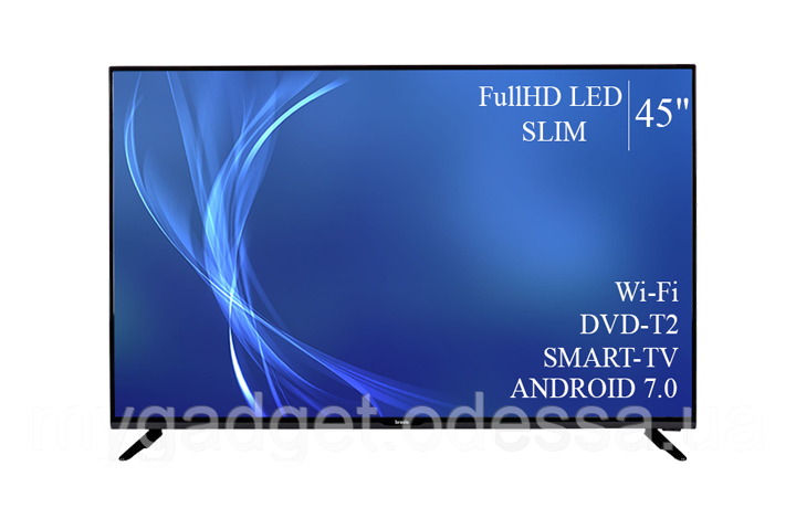 "Современный телевизор Bravis  45"" Smart-TV/Full HD/DVB-T2/USB Android 7.0"