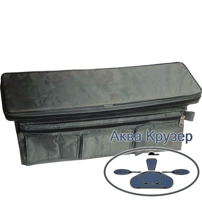 Мягкое сиденье накладка 840х200х50 мм с сумкой рундуком для надувных лодок ПВХ, цвет серый