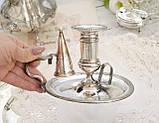 Посеребренный подсвечник с гасником, серебрение по меди, винтаж, Англия, фото 3