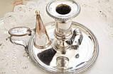 Посеребренный подсвечник с гасником, серебрение по меди, винтаж, Англия, фото 6