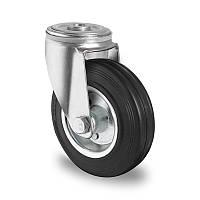 Профессиональное поворотное колесо для тележек диаметром 160 мм из стандартной черной резины