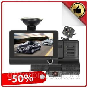 Автомобильный видеорегистратор на 3 камеры Recorder 4 Full HD обзор 170° ночное видения, авто регистратор