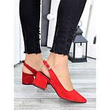 Туфлі червона натуральна замша, фото 4